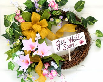 GET WELL SOON~Wreath~Gift~Silk Flowers~Yellow~Pink~Burlap~Bow~Personalized~Cheerful~Handmade~Sign~Grapevine~Lillies