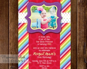 Rainbow Birthday Invitation, Photo Rainbow Invitation, Rainbow Birthday Party invitation, Rainbow Invite, Rainbow Party, 1st Birthday, DIY