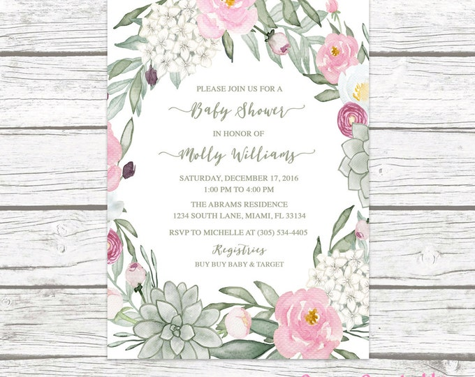 Succulent Baby Shower Invitation, Baby Shower Invitation Girl, Floral Wreath Baby Shower Invite, Rustic Baby Shower Printable Invite