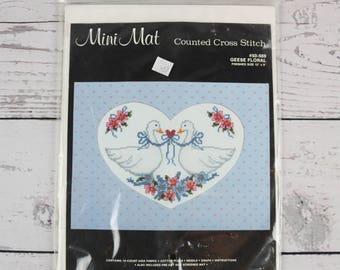 Janlynn Mini Mat Geese Floral Heart Shaped Mat Counted Cross Stitch Kit