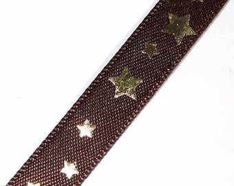 1 M Galon Brown stars gold 10mm (meter) AC172