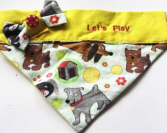 Let's Play Over Collar Embroidered Dog Bandana for Summer