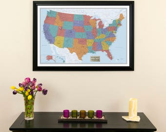 """Personalized Blue Oceans USA Push Pin Travel Map with Pins and Frame -24""""x36"""" - Map of the US - United States Travel Map - USA Map - Pin Map"""