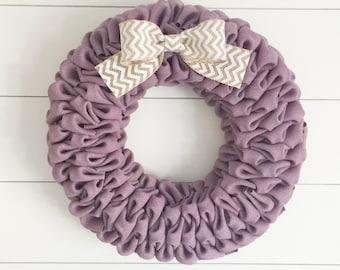 Lavender burlap bubble wreath with white chevron bow - Spring wreath