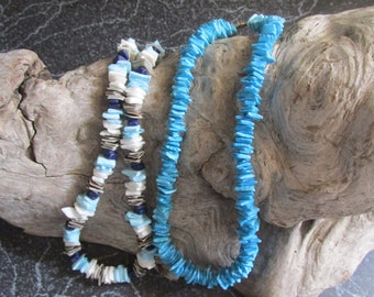 Pair of Shell Necklaces Blue, Turquoise, White, and Black Accents