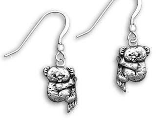 Sterling Silver Koala Earrings