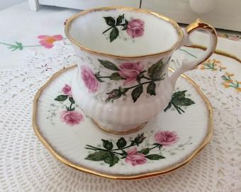 English china, vintage china, china cup and saucer, floral china, Pink china, Elizabethan china, small cup snd saucer