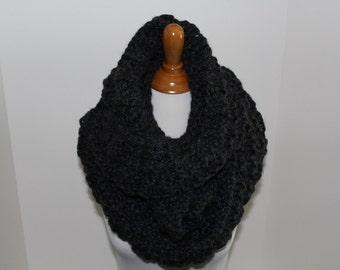 Infinity Knit Charcoal Gray Scarf, Chunky Knit Scarf, Gray Knit Scarf, Hand Knit Charcoal Infinity Scarf, Neck Warmer, Wellington Knit Scarf