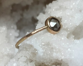 Rose Cut Diamond and 14k Gold Ring, Gray Diamond Engagement Ring, Alternative Engagement Ring