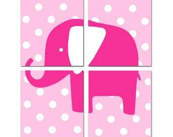 Polka Dot Elephant - Nursery Art - Set of Four 11x14 Prints - CHOOSE YOUR COLORS - Shown in Light Pink, Hot Pink, and More