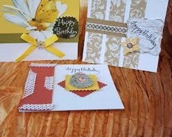 Set of Three Birthday Cards, Greeting Cards, Card Set, Handcrafted Cards, Handmade Cards, Birthday Cards, Blank Cards, FREE SHIPPING