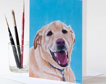"Note Card 5 x 7"" of Original Painting ""Dusty"" by Award-Winning Artist Ingrid Lockowandt Blank Greeting Card Dog Portrait Labrador Retriever"