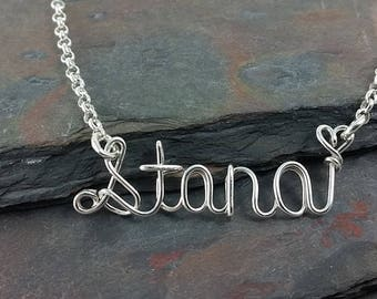 Choose Your Metal Wire Name Necklace, Personalized, Custom Name Pendant