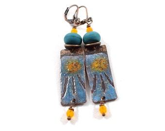 Handmade Sunshine Blue Enameled Earrings, Blue and Gold, Boho  Earrings, Tribal Earrings, Industrial Earrings, Long Earrings, E037
