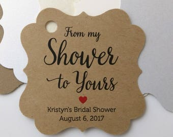 From My Shower to Yours Tags Favor Tag Bridal Shower Tags, Gift Tags, Baby, Shower Tags, Bride to be, Wedding Shower, Baby Shower, Favor Tag