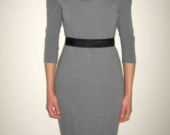 Minimalist Grey Dress with Belt, Fitted Dress, Boatneck Dress, Cotton Jersey Dress