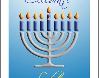 Hanukkah Greeting card with embossed menorah and Celebrate Light in calligraphy