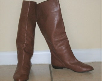Bertie // 1970, 80s Brown Leather Tall Boots Made In Italy 38/8