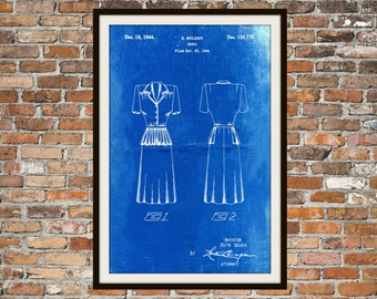 Blueprint Art Dress 1940's Vintage Technical Drawings Engineering Drawings Patent Blue Print Art Item 0064