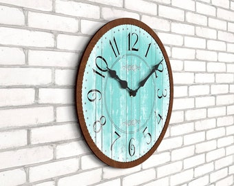 Decorative Retro Wall Clock - Classic Turquoise (No:06)