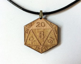 D20 Dice Necklace Dungeons & Dragons