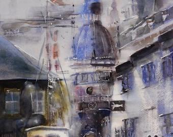 "Watercolor painting 6.40""x 9.40"" (print of the original)"