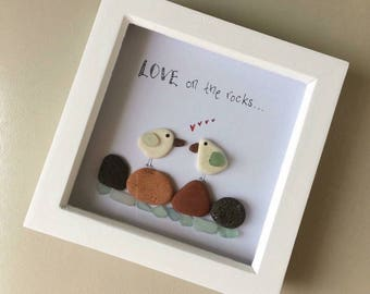 Handmade picture, framed, beach finds, seaglass, unique, gift, love.