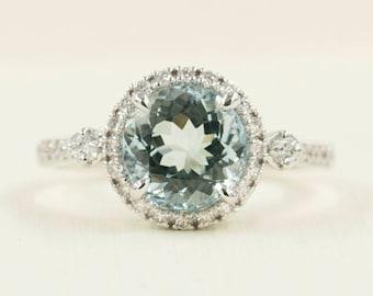 Aquamarine Engagement Ring.Aquamarine Diamond Engagement Ring.Solid 14K White Gold Ring.8mm AAA Aquamarine Diamond Wedding Ring.Diamond Ring