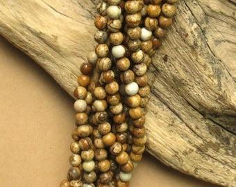 Picture Jasper - 6mm - Round - 15 Inch Strand of 60 Beads