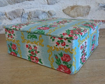 French fabric covered box, mid century sewing box