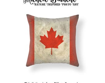 Canada Flag Pillow Cover, Canadian Maple Leaf Throw Pillow, Patriotic Flag Toss Pillow, National Flag Cushion Cover, Family Heritage Decor