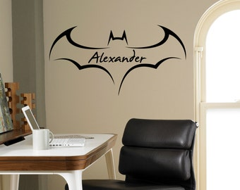 Custom Name Batman Wall Decal Superhero Emblem Vinyl Sticker Personalized  Decals Home Decor Housewares Removable Decor Wall Art 9(shl)
