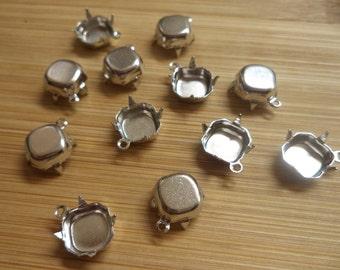 8mm square octagon silvertone closed back 1 ring prong pendant settings 12 pc lot CB1r