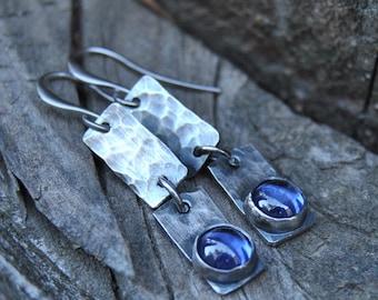 Tanzanite Dangle Earrings, Tanzanite Earrings, Gemstone Earrings, Minimalist Earrings, Silver Earrings