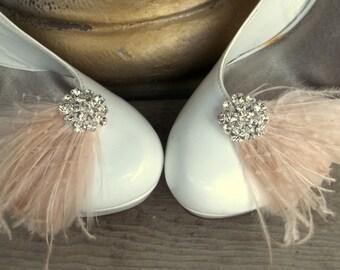 Shoe Clips, feather shoe clips, champagne shoe clips, wedding clips for bridal shoes, wedding shoes, heels, pumps, flats,  dress up shoes