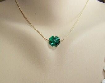 Shamrock Necklace, Four Leaf Clover, Swarovski Crystal Shamrock Necklace, St. Patrick's Day, Emerald Shamrock, May Birthstone, Gold Chain