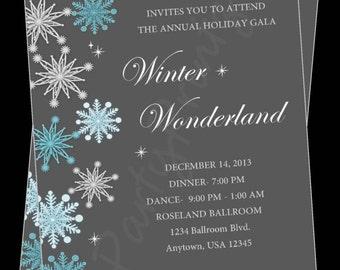 Printable Winter Wonderland - Christmas Party -  Personalized Invitations -  Custom - Holiday