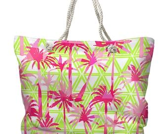Palm Resort Tote Bag, Beach Tote Bag, Coastal Tote Bag, Tropical Tote Bag, Palm Carryall, Lilly Pulitzer Inspired Tote Bag