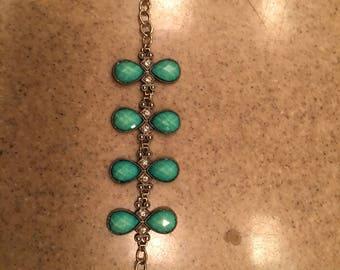 Turquoise bead and rhinestone bracelet