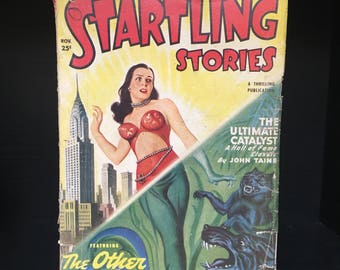 Rare science fiction pulp magazine 1949 STARTLING STORIES. Antique sci-fi fantasy Virgil Finlay art cheesecake pinup vintage mag zine book