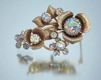 Aurora Boralis Pin Brooch Brushed Flower Vintage r
