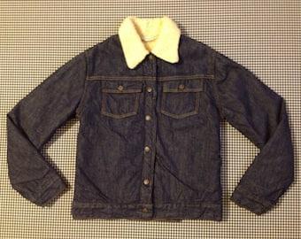 1970's, pile fleece lined, denim jacket, by Sears JR Bazaar, Women's size Small/XS