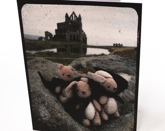 2 rabbits & 1 Bear Travel greetings card Whitby Abbey vampires being Dracula for men, women, children. Kawaii goth