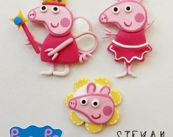 Pack of 7 pieces of peppa pig to paste. In polymer clay