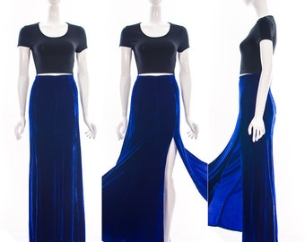 Vintage 90s Stunning High Waist Full Length Sapphire Blue Crushed Velvet Skirt with Deep Side Split Panel Velour Small xs