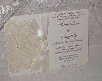 Lace Wedding Invitations, Vintage Inspired  LACE DOILY Image French Market Elegant, Shabby Chic, Haute Couture Invitations