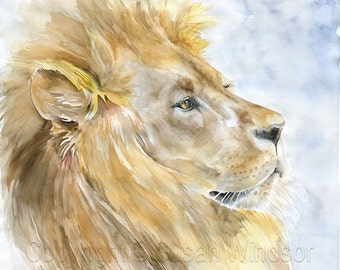Lion Watercolor Painting Giclee Print Reproduction - African Animal - Aslan