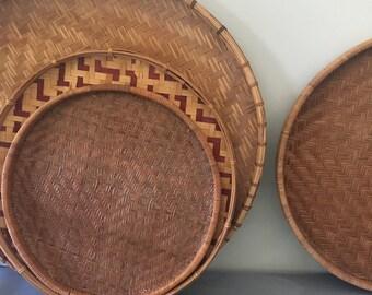 Vintage Woven Tray, Bamboo Tray, Boho Tray, Wall Basket, Rattan Tray, Round Serving Tray