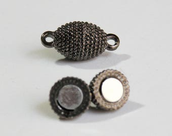 5 Magnetic oval clasps beaded texture gunmetal black 17x8mm PH379-GM