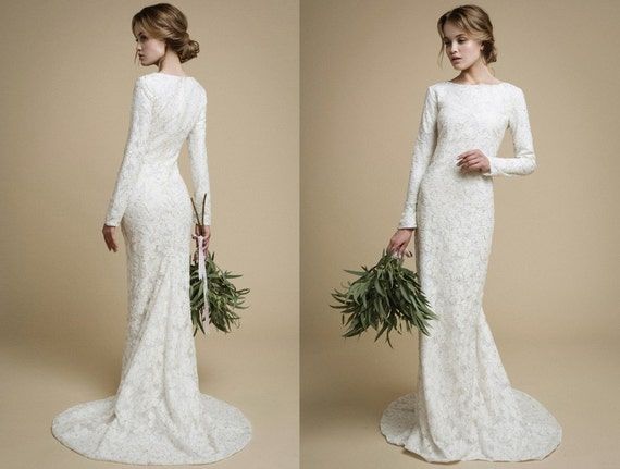 Utta long sleeves wedding dress elegant tight fit wedding for Tight fitting wedding dresses